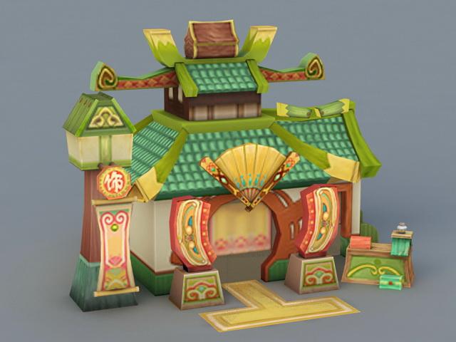 Cartoon Chinese Store 3d rendering