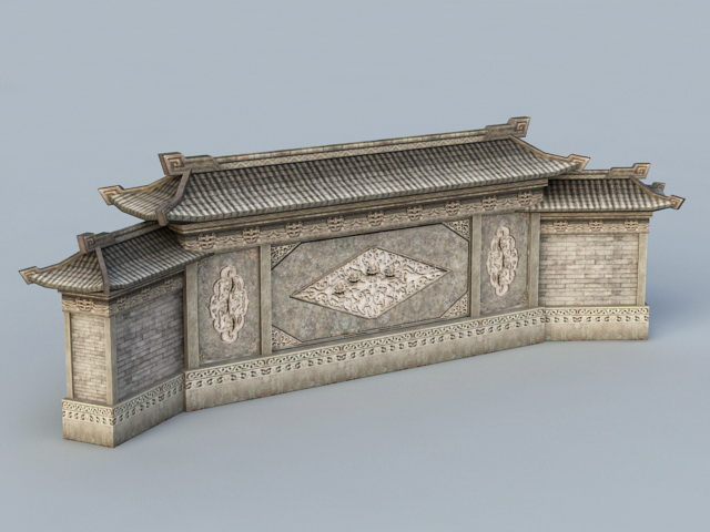 Traditional Chinese Screen Wall 3d rendering