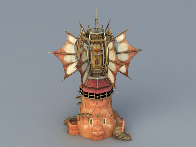 Cartoon Windmill 3d rendering