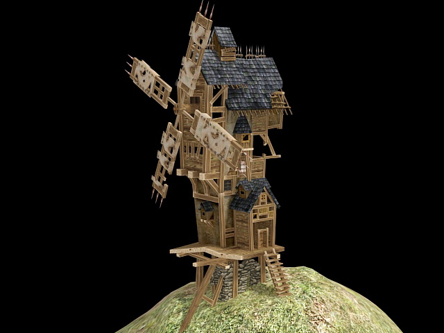Medieval Windmill 3d rendering