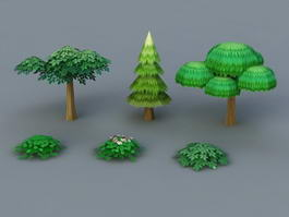 Low poly Bushes and Trees 3d preview