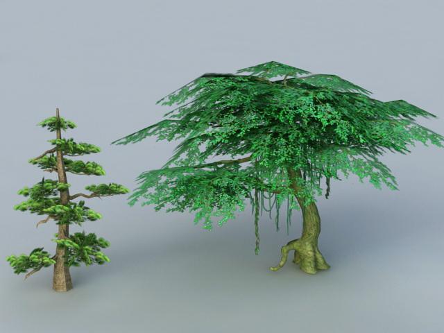 Cypress and Banyan Tree 3d rendering
