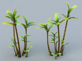 Low poly Palm Trees 3d model preview