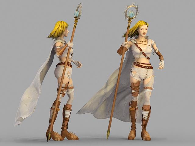 Beautiful Female Mage 3d rendering