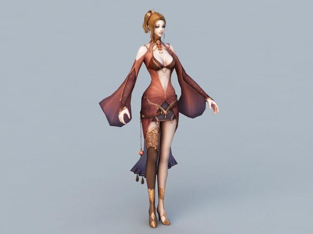 Beautiful Elf Woman Rig 3d rendering