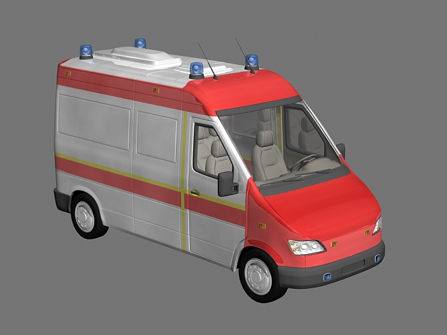 Small Ambulance 3d rendering