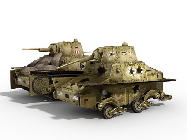 Italian L6 40 Light Tank 3d rendering