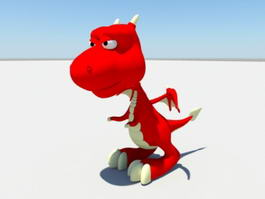 Cute Baby Red Dragon 3d model preview