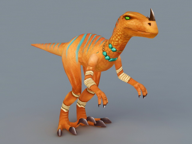 Yellow Velociraptor Dinosaur 3d rendering