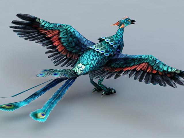 Blue Peacock Phoenix 3d rendering