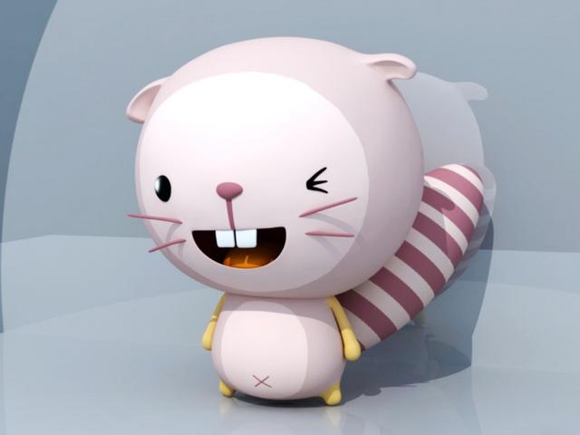 Cartoon Beaver Character 3d rendering