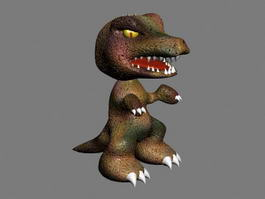 Scary Cartoon Dinosaur 3d model preview
