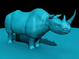 Blue Rhinoceros Statue 3d model preview