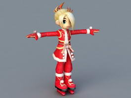 Christmas Cartoon Girl 3d preview