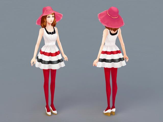 Summer Lady 3d rendering