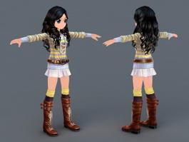 Adorable Anime Girl 3d preview