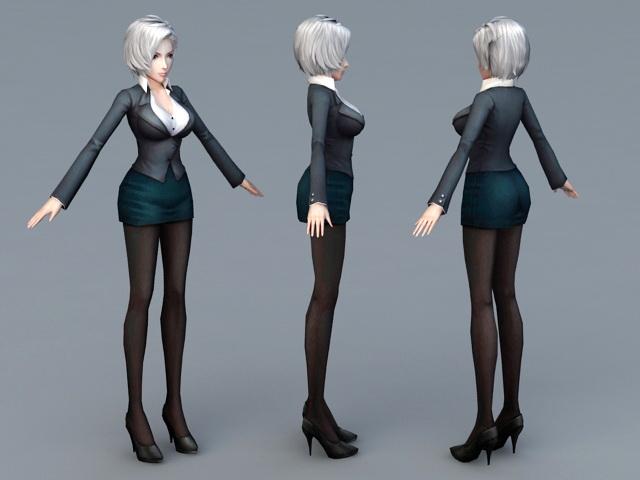Beautiful Secretary 3d rendering