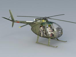 US Army OH-6 Helicopter 3d model preview
