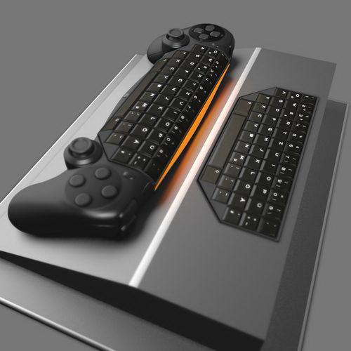 Gamepad Keyboard Hybrid 3d rendering