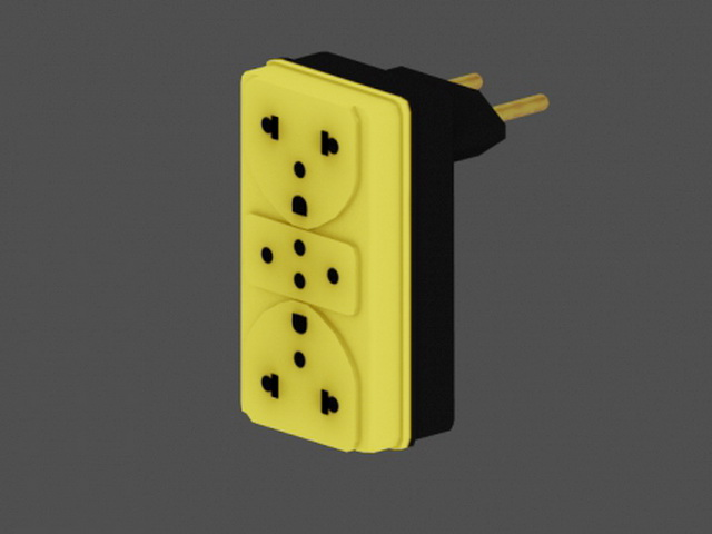 Yellow Plug Outlet 3d rendering