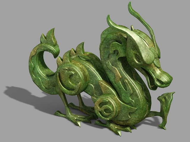 Ancient Dragon Statue 3d rendering