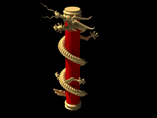 Chinese Dragon Pillars Column 3d rendering
