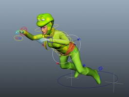 Female Humanoid Frog Rig 3d preview