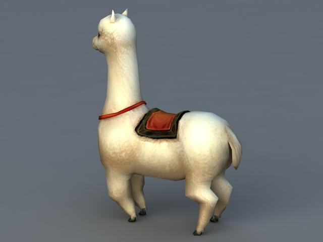 Beautiful Alpaca 3d rendering