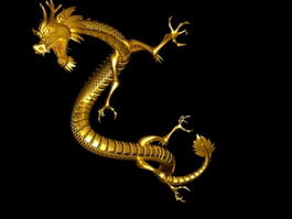 Gold Chinese Dragon 3d model preview