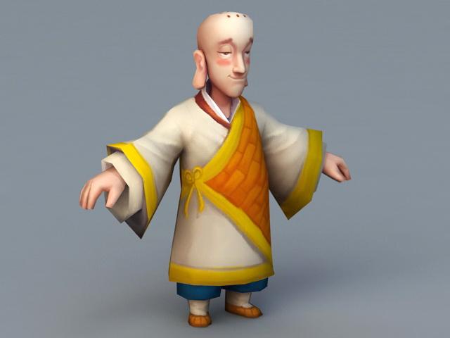 Buddhist Monk Cartoon 3d rendering