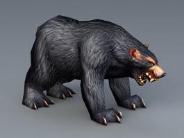 Black Bear Low Poly 3d model preview