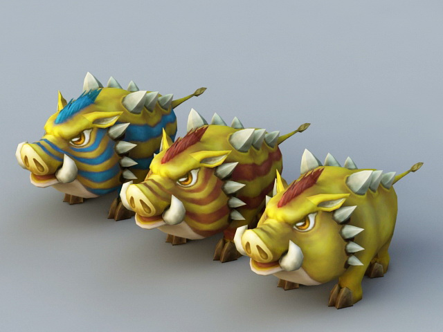 Yellow Boar Rig 3d rendering