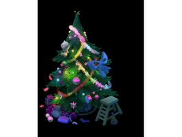 Christmas Tree with Presents 3d model preview