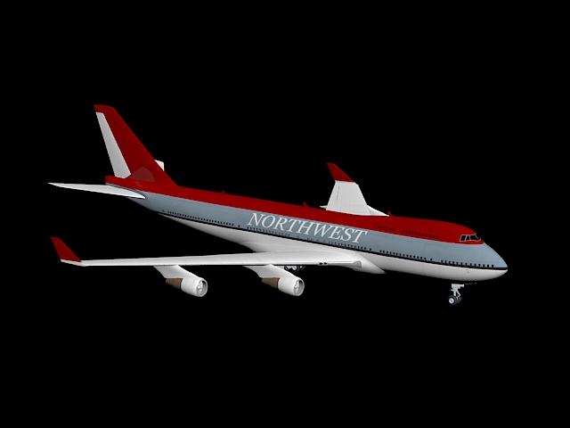 Northwest Airlines Flight 3d rendering