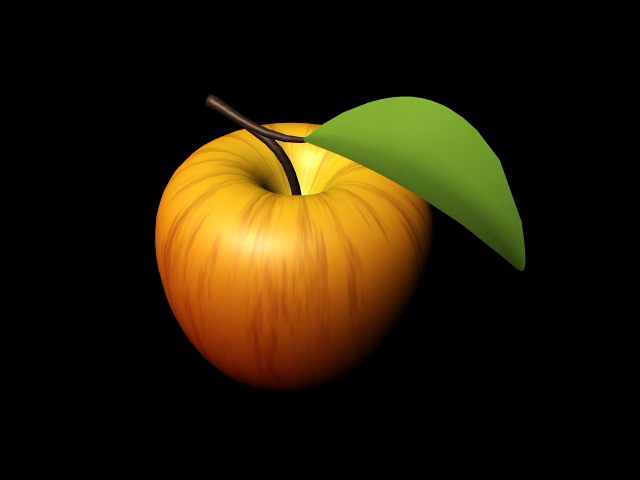Apple with Leaf 3d rendering