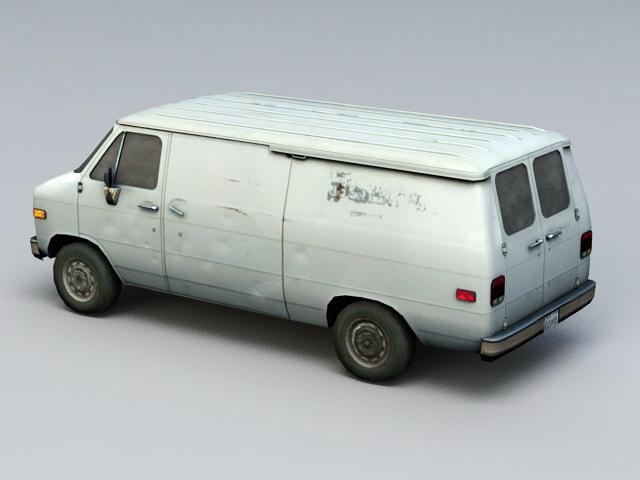 Rusted Old Van 3d rendering