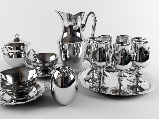 Silverware and Tableware 3d rendering