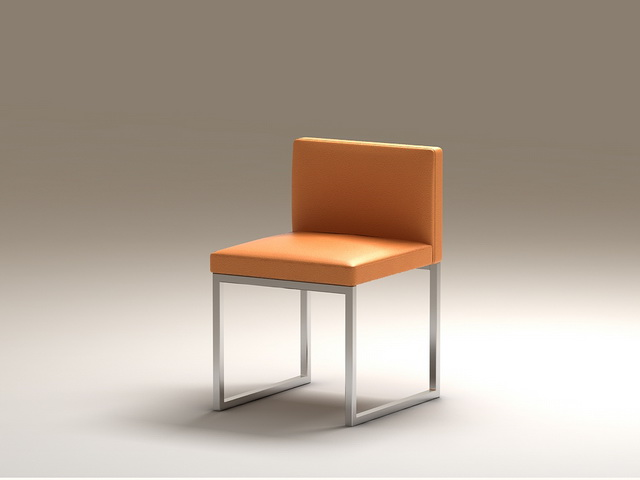 Modern Leather Cube Chair 3d rendering