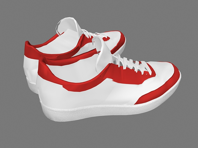 Red and White Sneakers 3d rendering