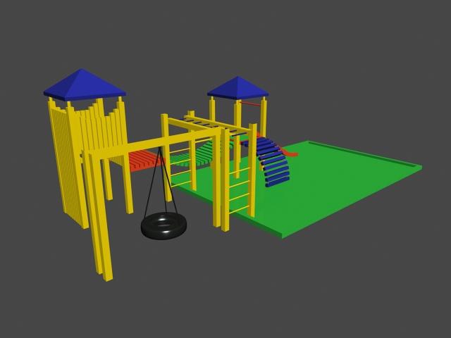 School Playground 3d rendering