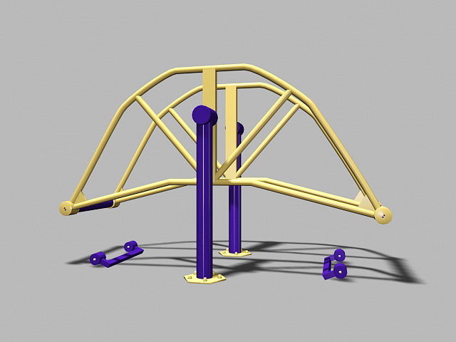 Adult Outdoor Playground Equipment 3d rendering