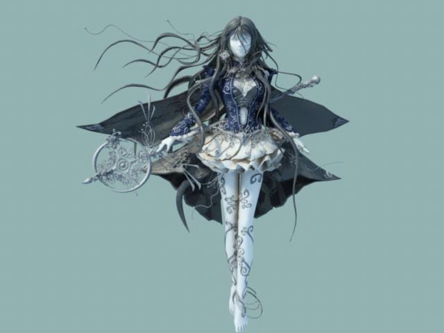 Anime Female Warrior Goddess 3d rendering