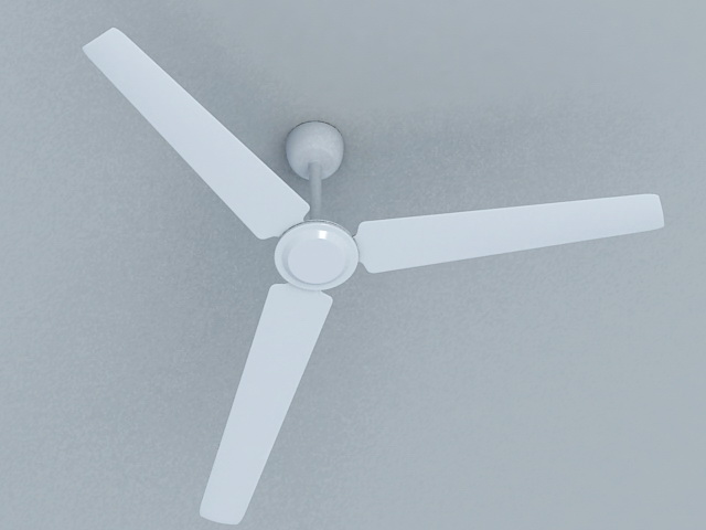 White Ceiling Fan 3d rendering