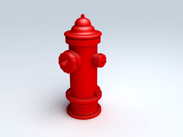 Red Fire Hydrant 3d rendering