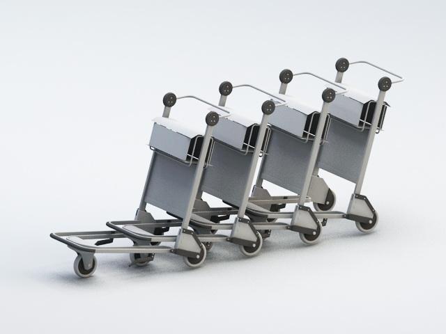 Airport Baggage Carts 3d rendering