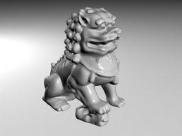Guardian Lion Statue 3d model preview