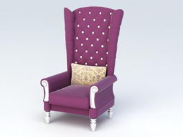 High Back Accent Chair 3d preview