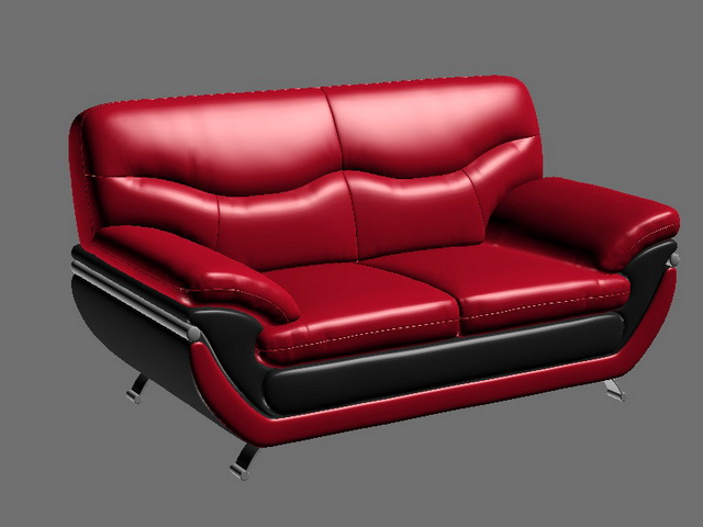 Red Leather Loveseat 3d rendering