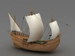 Wooden Sailing Ship 3d preview