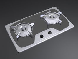 2 Burner Gas Cooktop 3d preview